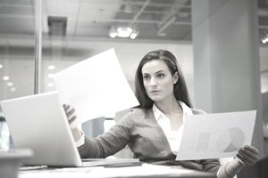 Businesswoman reviewing data