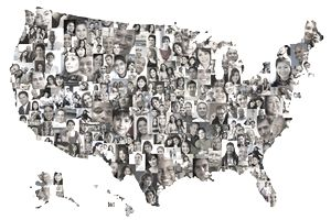 Collage of business people in shape of United States map