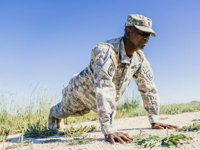 Soldier doing push ups