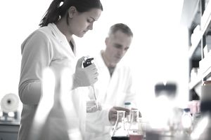 Medical scientists working in a laboratory