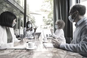 Diverse workers in a meeting