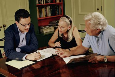 Financial representative meeting with clients