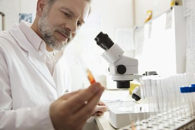 Male medical lab technologist examining sample in test tube