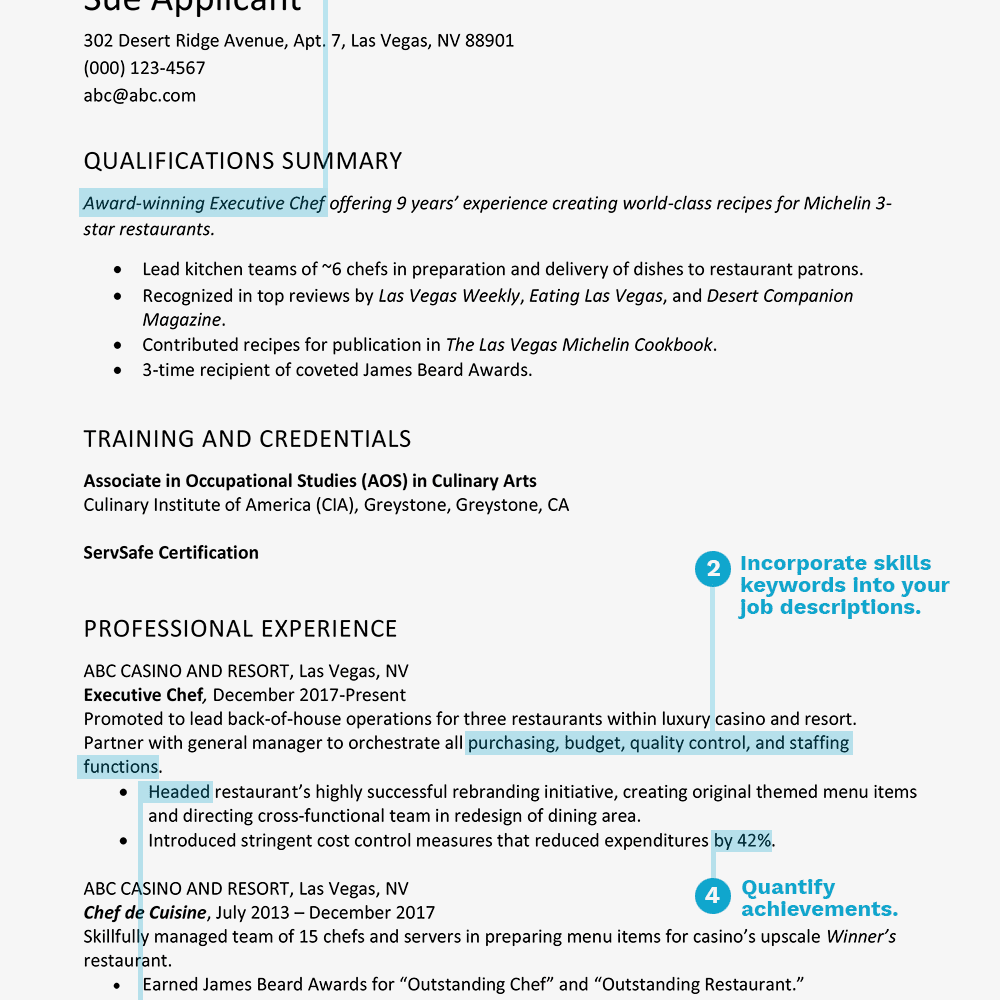 screenshot of a general resume example