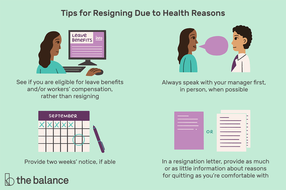 "This illustration offers tips for resigning due to health reasons including ""See if you are eligible for leave benefits and/or workers' compensation, rather than resigning,"" ""Always speak with your manager first, in person, when possible,"" ""Provide two weeks' notice, if able,"" and ""In a resignation letter, provide as much or as little information about reasons for quitting as you're comfortable with."""
