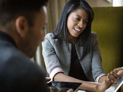 A career counselor and client