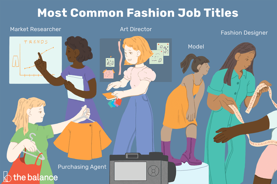 Most Common Fashion Job Titles: Market researcher, art director, model, fashion designer, purchasing agent