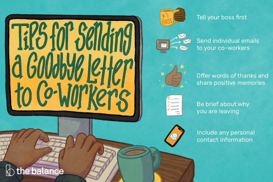 This illustration lists tips for sending a goodbye letter to co-workers including