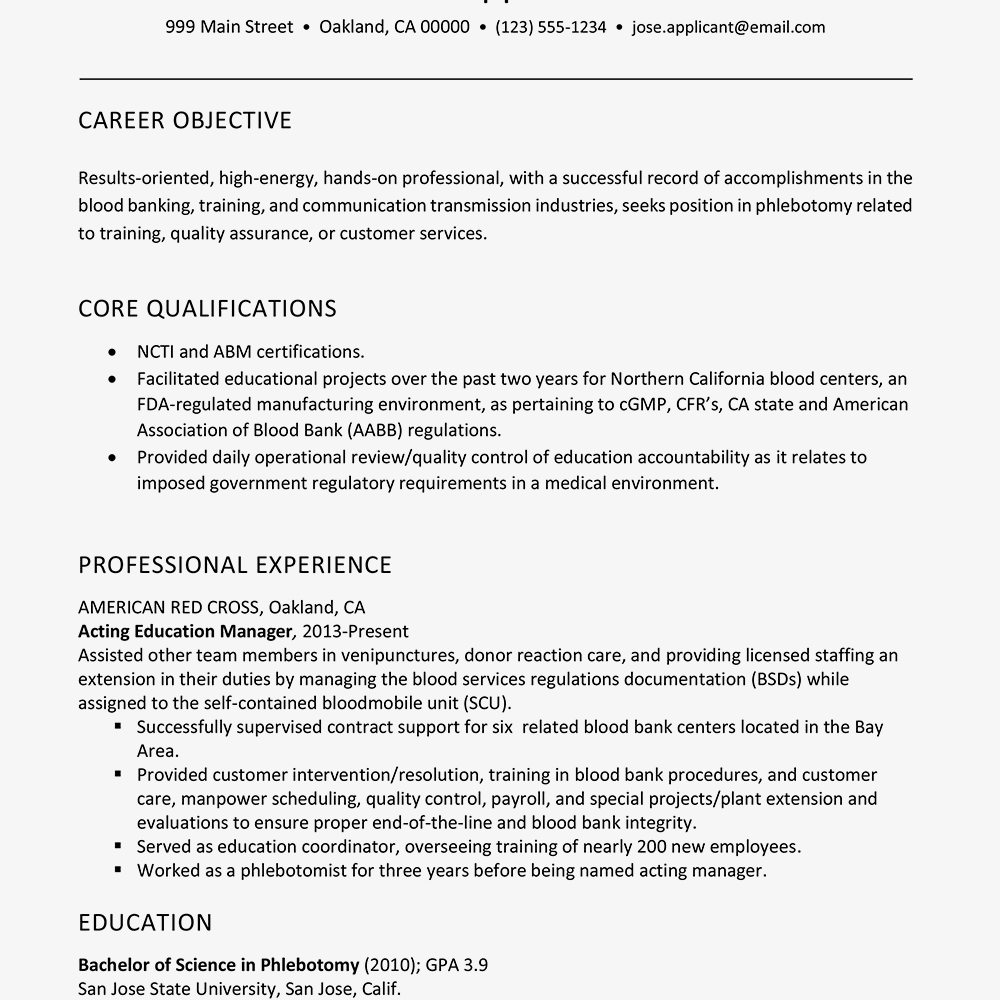 Combination Resume Template And Example