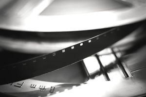 Close-Up Of Film Reel In Canister