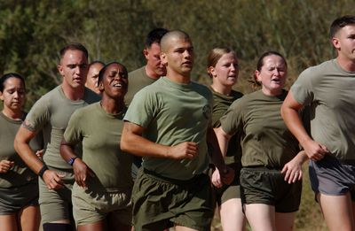 Marines running in training camp demonstrate the process of resocialization.