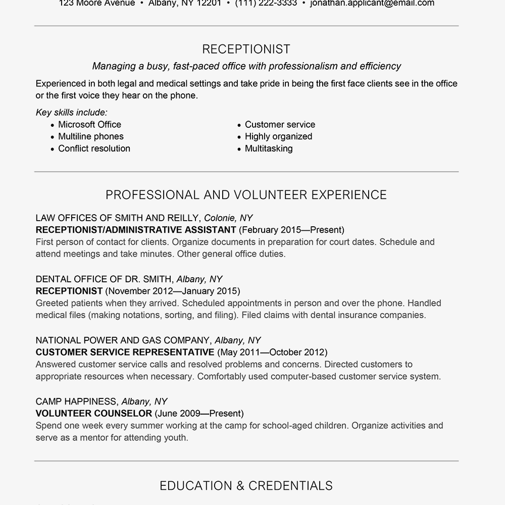 receptionist resume example text version