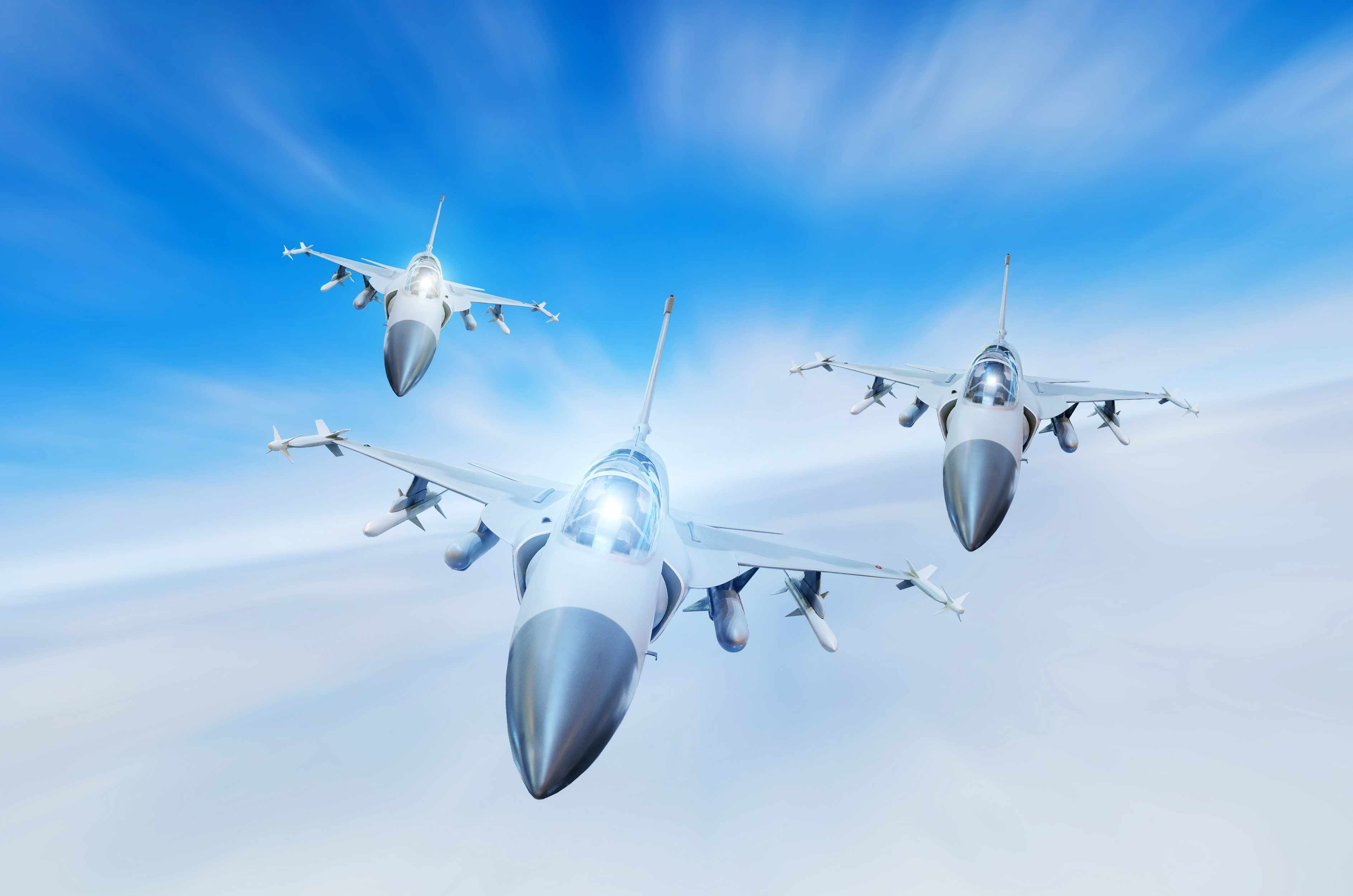 CGI of 3 air force fighter jets flying in formation