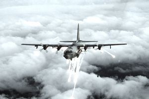 An Air Force Special Forces AC-130 gunship in an undated photo, which was used by the U.S. military to attack targets around the Taliban of Kandahar a senior defense official said October 15, 2001. The four-engine turbo-prop aircraft was used for the first time October 15 in the nine-day air campaign against Taliban military and guerrilla training camps in Afghanistan.