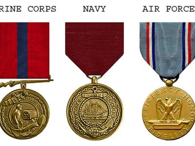 Good conduct medals from the Army, Marine Corps, Navy, Air Force, and Coast Guard