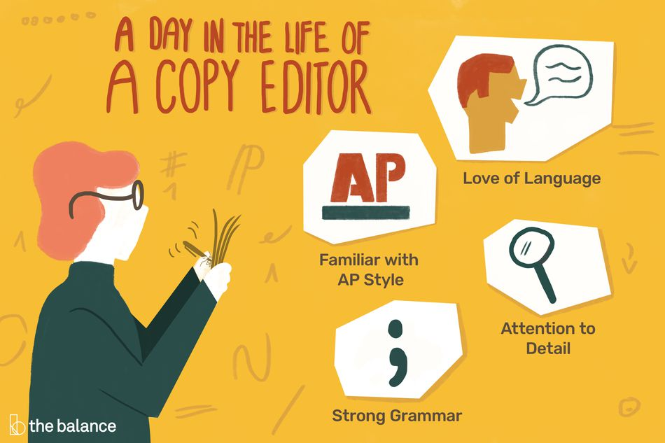 a day in the life of a copy editor: familiar with AP style, love of language, attention to detail, strong grammar
