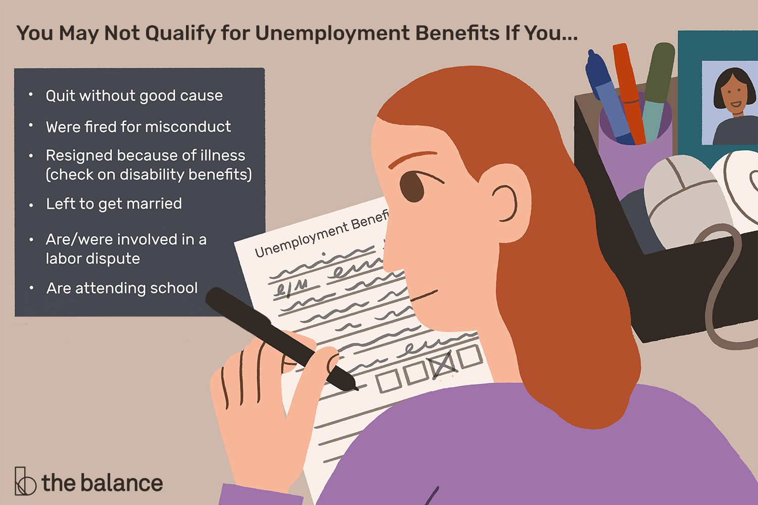 This illustration describes why you may not qualify for unemployment benefits including