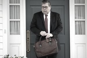 U.S. Attorney General William Barr departs his home