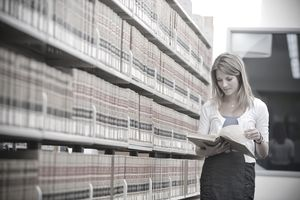 Young woman in law library