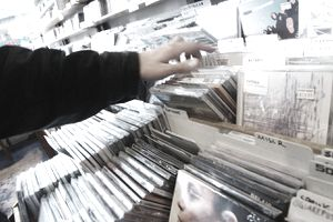 Customer shopping for CD's