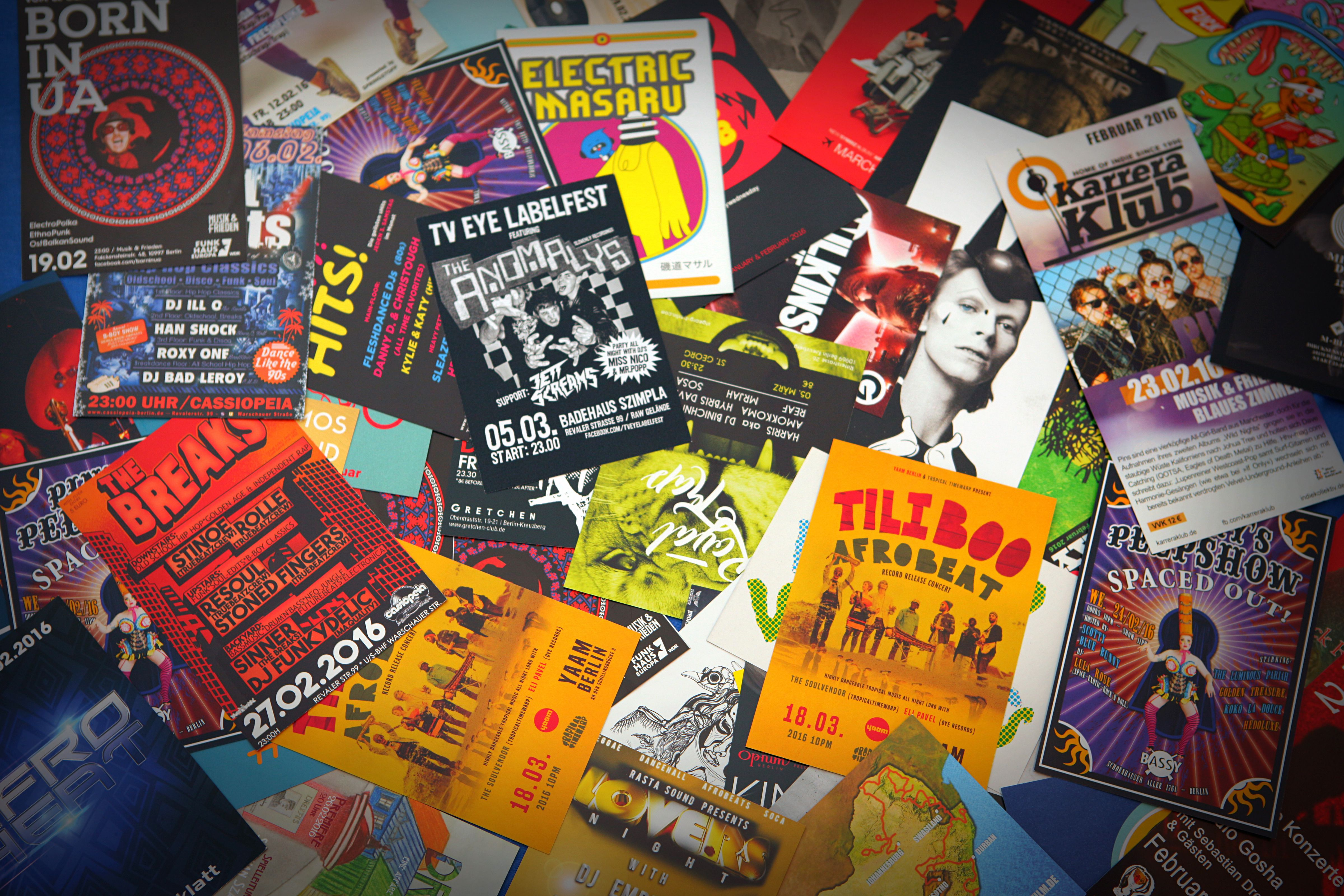 Berlin nightlife and music scene: flyers, leaflets and advertisements