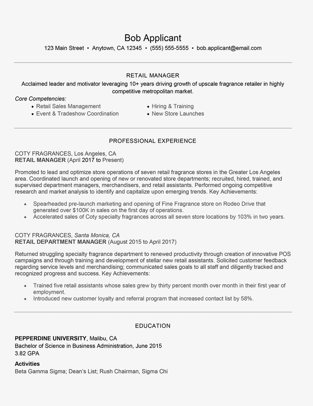 Retail Management Cover Letter and Resume Examples
