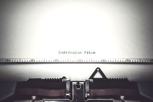 Curriculum vitae typed on typewriter