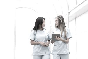 Nurses talking at the hospital
