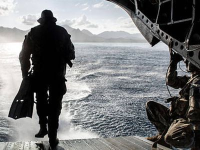 A soldier conducts a combat dive mission