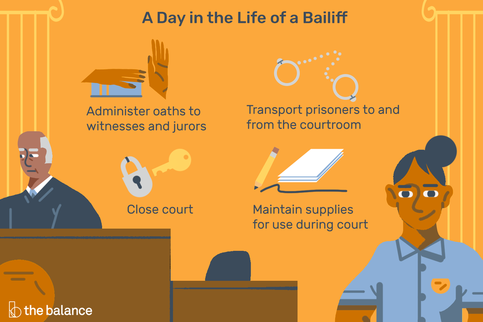 """Image shows a judge and a bailiff in a courtroom. Text reads: """"A day in the life of a bailiff: administer oaths to witnesses and jurors, transport prisoners to and from the courtroom, close court, maintain supplies for use during court"""""""