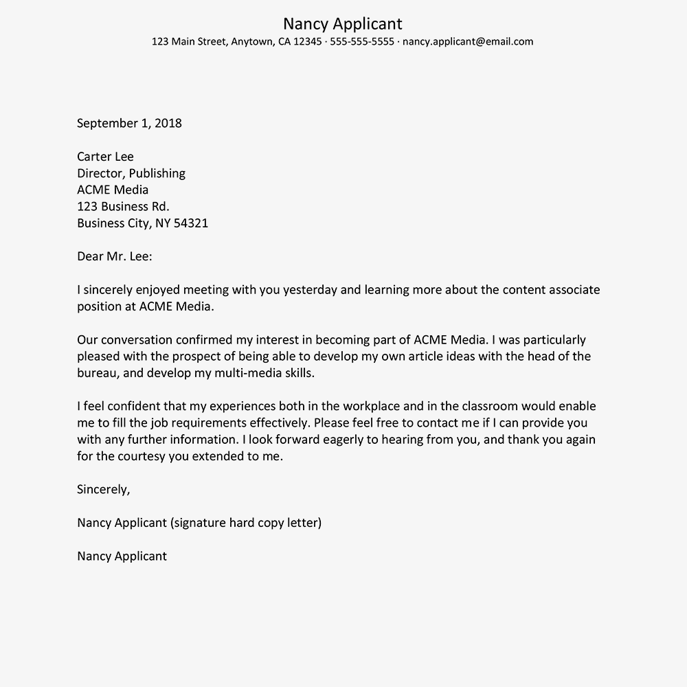 screenshot of a job interview thank you letter sample