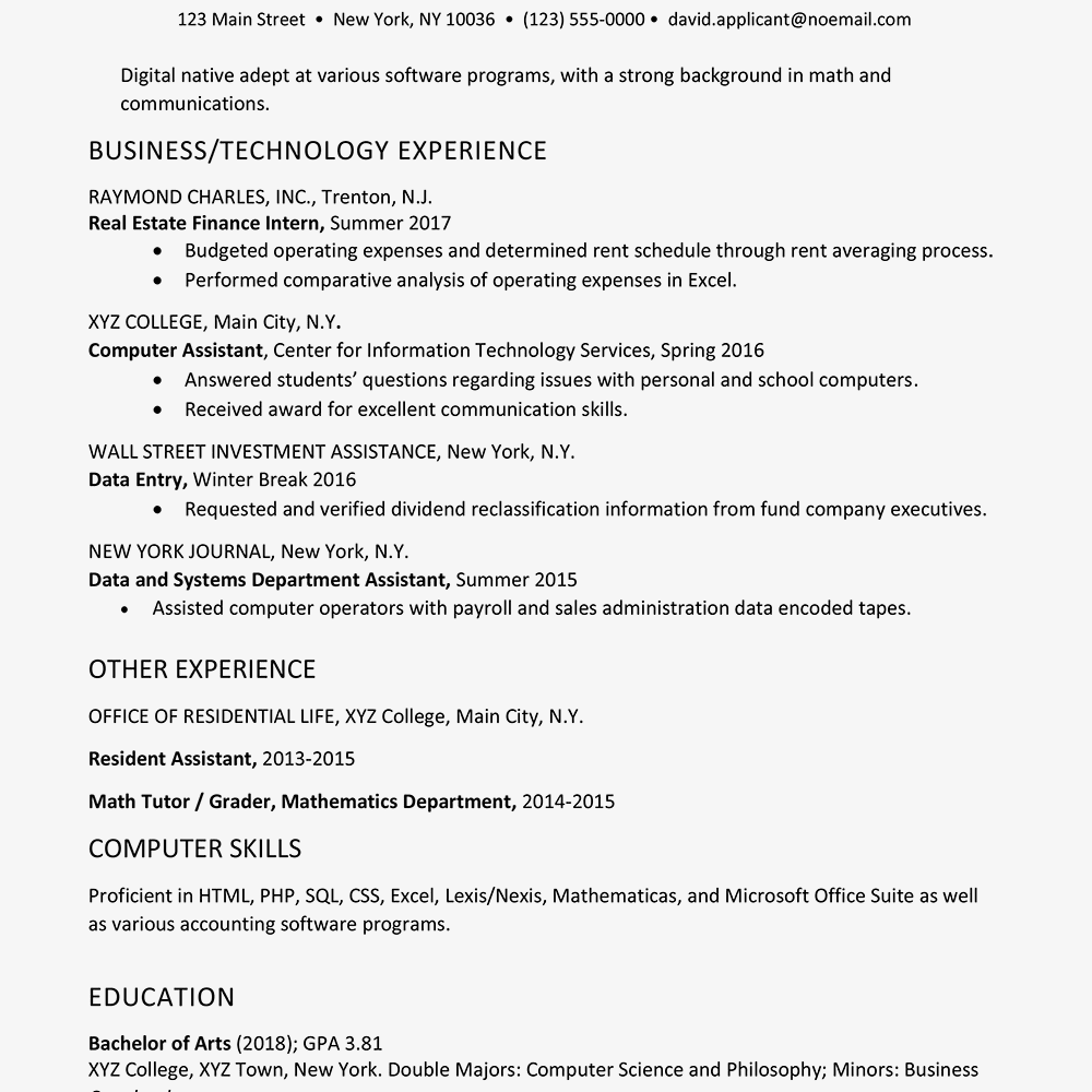 Business And Technology Resume Example For A College Graduate Text Only