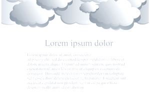 Gradient blue clouds, Lorem ipsum on white backgroun