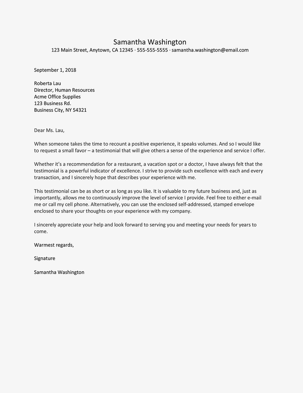 Sample Customer Testimonial Request Letter