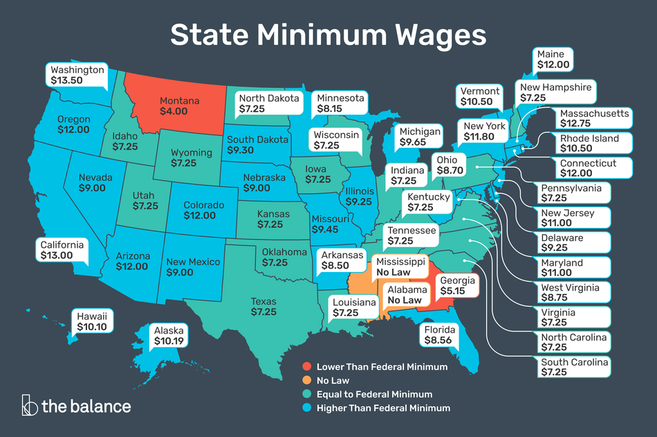 "Image shows a map of the U.S. and each of their individual minimum wages. Title reads: ""State minimum wages"""