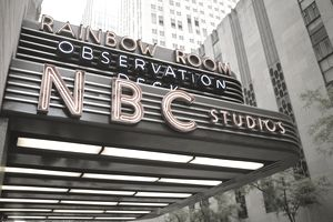 NBC Studios sign in Rockefeller Center, New York