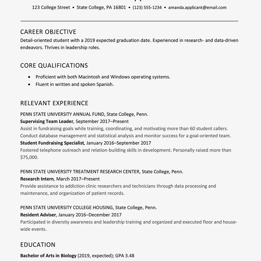 Screenshot Of A College Senior Resume Example