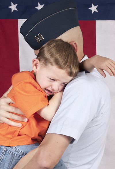 Officer with crying son