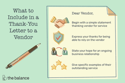 This illustration includes what to include in a thank-you letter to the vendor including