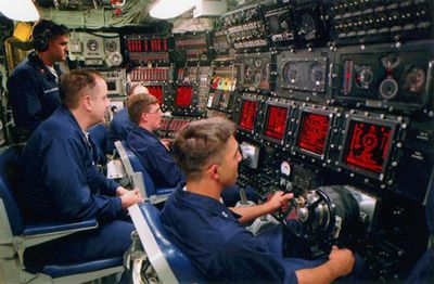 Navy personnel in submarine