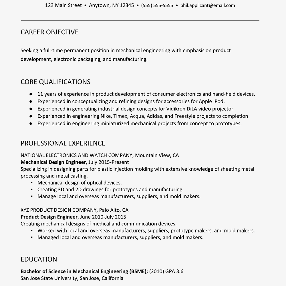 Sample Resume For A Mechanical Engineer