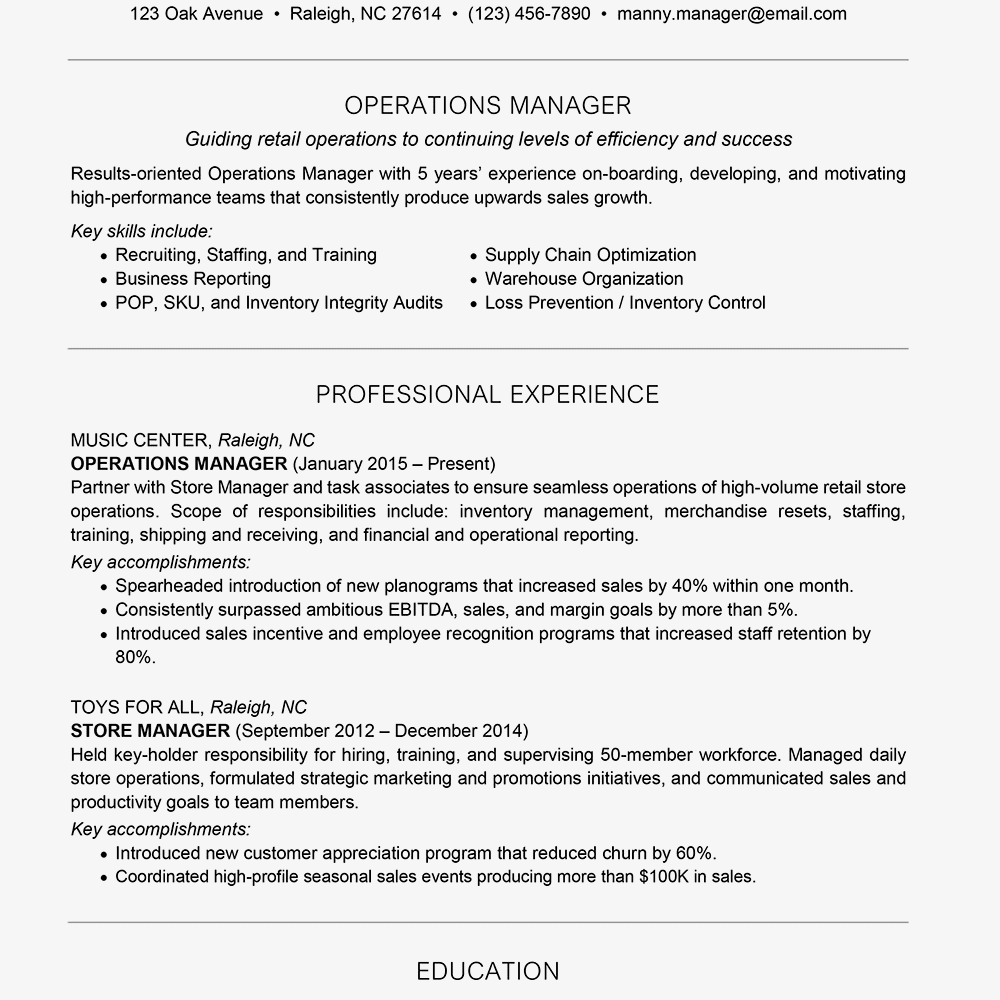 Management Resume Sample Text Version