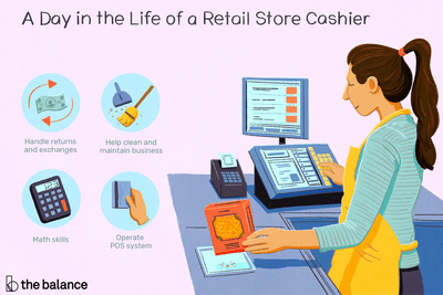 A day in the life of a retail store cashier: Handle returns and exchanges, help clean and maintain business, math skills, operate POS system