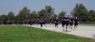 Recruits from the Indiana Law Enforcement Academy participate in physical training