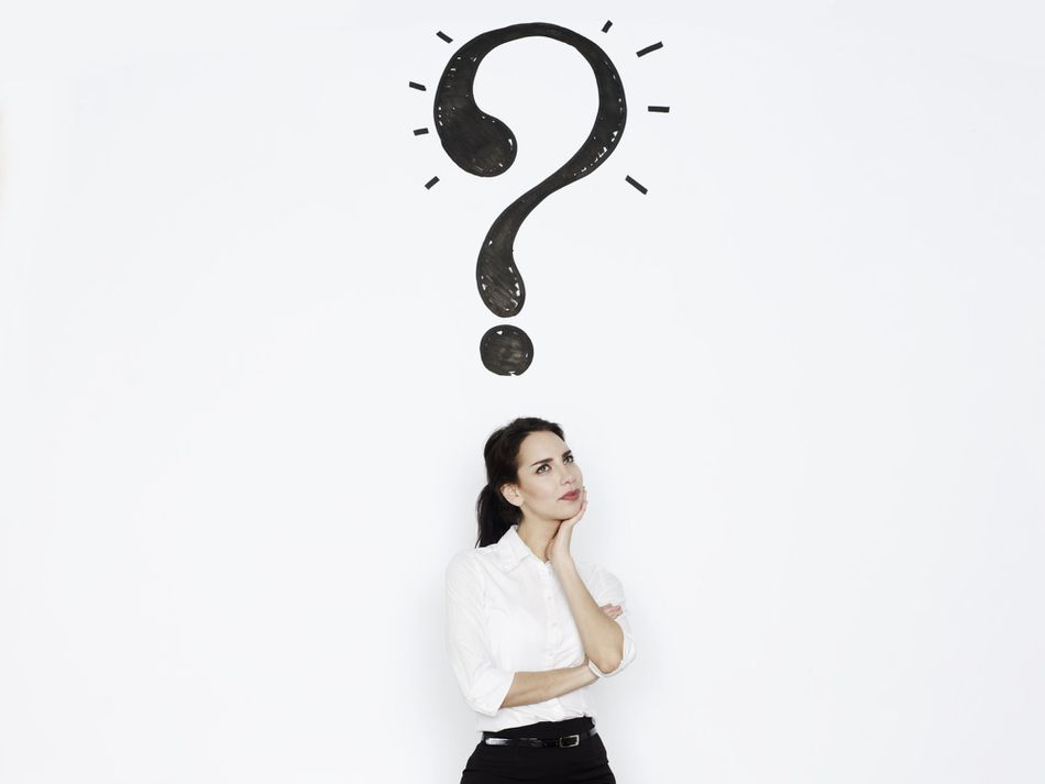 Woman thinking with question mark