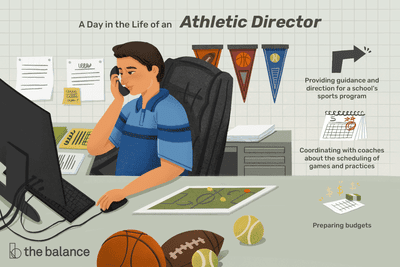 A day in the life of an athletic director: Providing guidance and direction for a school's sports program, Coordinating with coaches about the scheduling of games and practices, Preparing budgets
