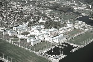 Arial view of the US Naval Academy at Annapolis, Maryland