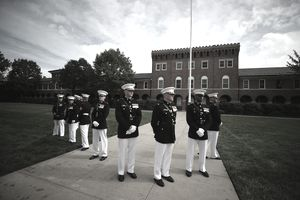 U.S. Marines participating in a ceremony.