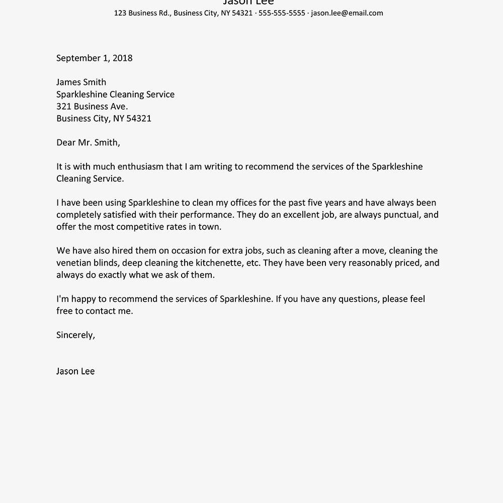 providing a reference template - business reference letter examples