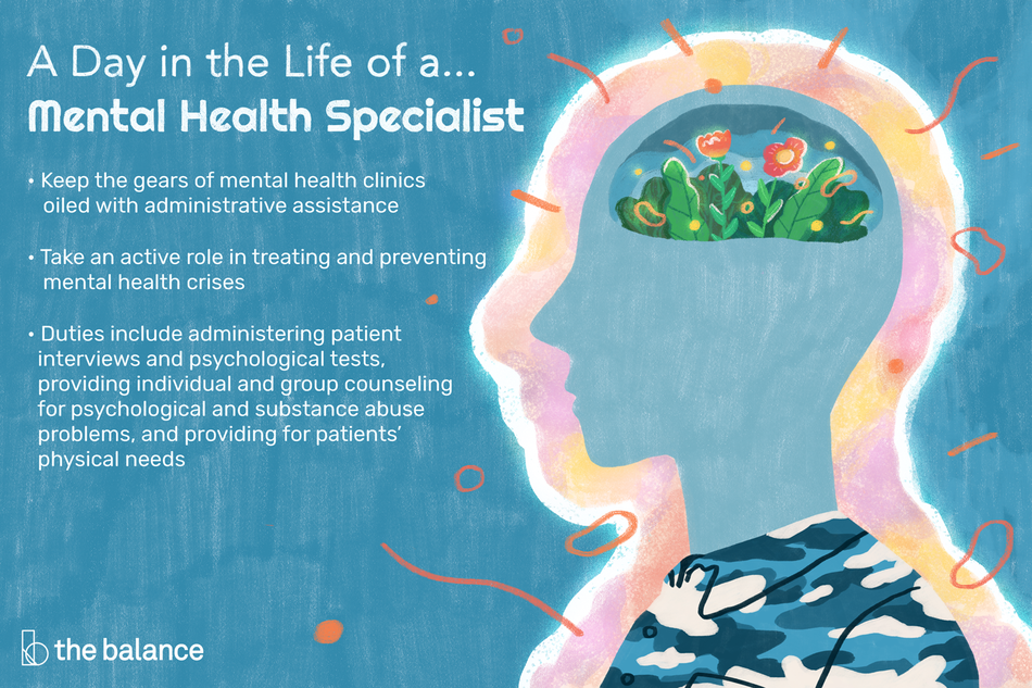 """Image shows the inside of a human head but the brain is a group of flowers and plants. Text reads: """"A day in the life of a mental health specialist: keep the gears of mental health clinics oiled with administrative assistance. Take an active role in treating and preventing mental health crises. Duties include administering patient interviews and psychological tests, providing individual and group counseling for psychological and substance abuse problems, and providing for patients' physical needs"""""""